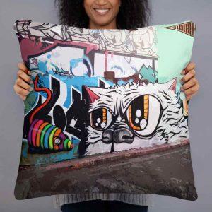 graffiti cat cushion print