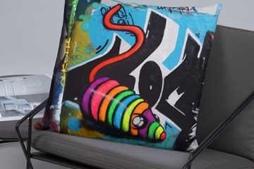 neon graffiti rainbow mouse toy design on cushion