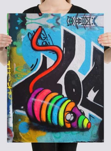 art print poster of a neon graffiti rainbow mouse toy