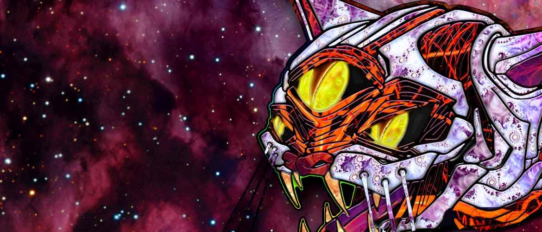 trippy three eyed cosmic cat in galaxy background