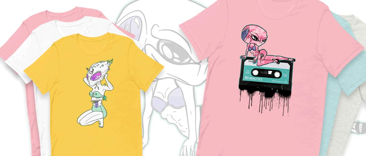 alien design t-shirts in many colours at printdub