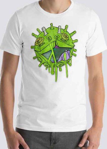 Man wearing coronavirus charity t-shirt at Printdub