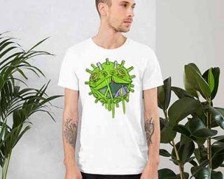 Man wearing viral puppy t-shirt at Printdub clothing