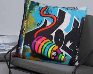 rainbow mouse toy graffiti art print on cushion