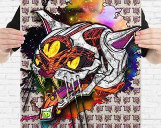crazy art poster print of a three eye acid cat