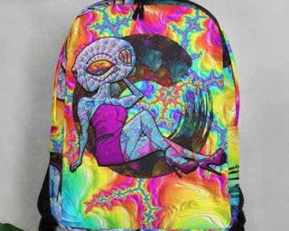 trippy psychedelic alien backpack