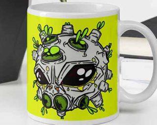 Viral Alien Yellow Coffee Mug on desk