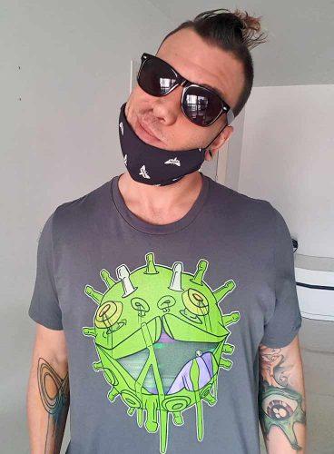 Printdub man wearing covid puppy t-shirt