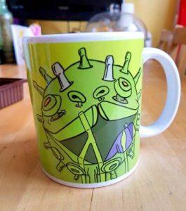 green viral puppy coffee mug