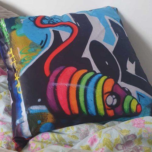 customer photo rainbow mouse toy graffiti cushion